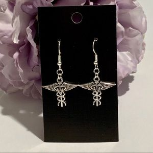 V - Veterinarian Caduceus Earrings